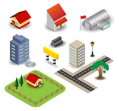 silver boder: Isolate object mini town Illustration