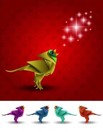 origami oiseau: Ensemble de couleur Origami oiseau