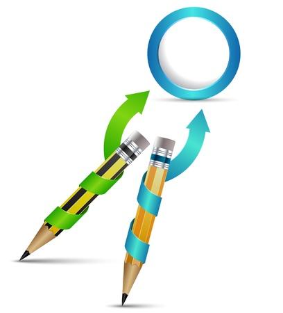 silver boder: Pencil 3D arrow circle
