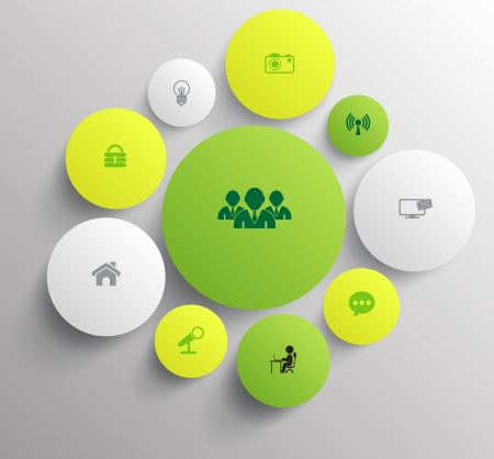silver boder: circle 3d with icons Illustration