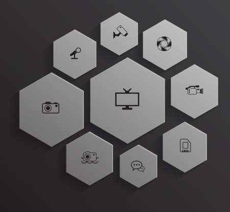 silver boder: Hexagon with business icons Illustration
