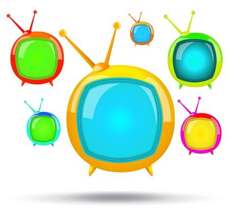silver boder: TV set color Illustration
