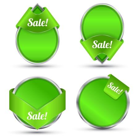 silver boder: Green tag set for promotion and sale Illustration