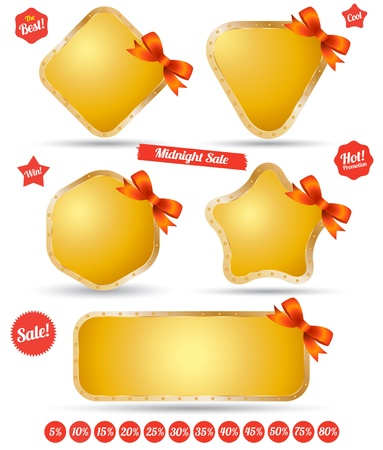 silver boder: Tag gold iron with bow Illustration