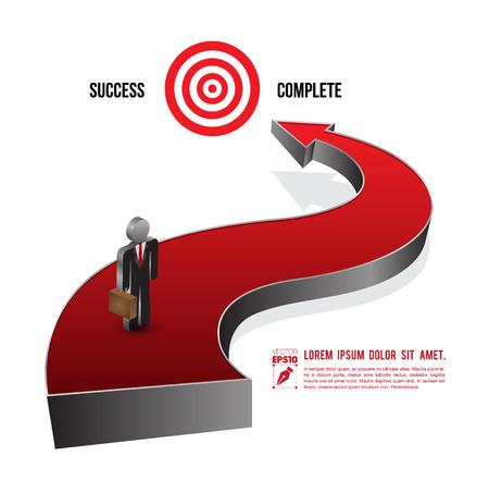 silver boder: 3d arrows go to success