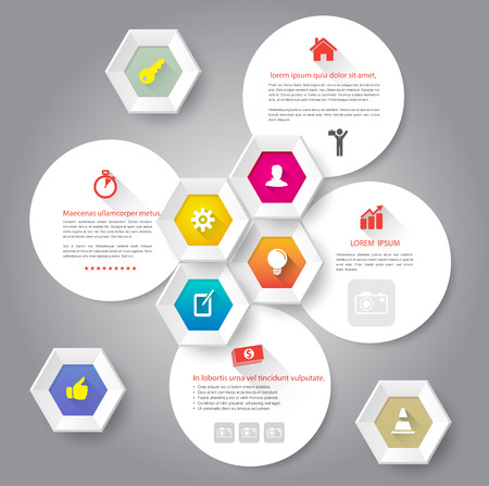 Hexagons and circle with icons