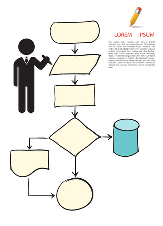 Flow chart symbol drawing style Vector