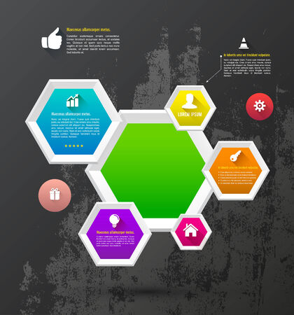 Hexagons bee hive with icons Vector