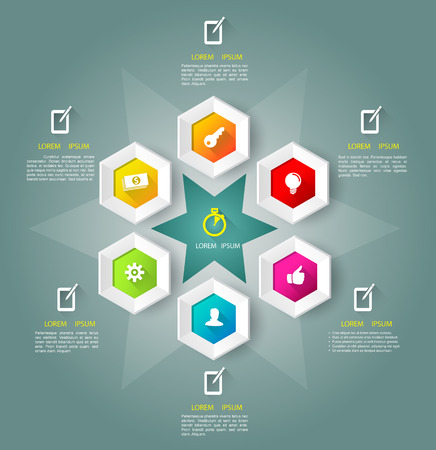 Hexagons bee hive with icons