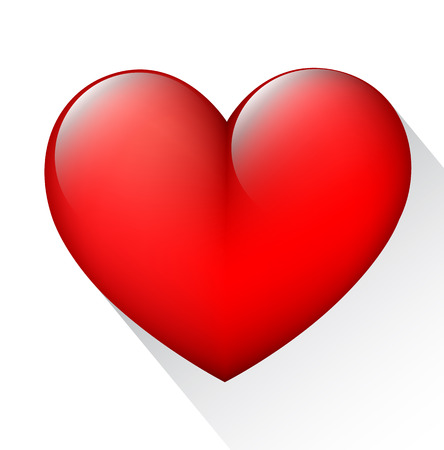 Red heart 3d style Vector
