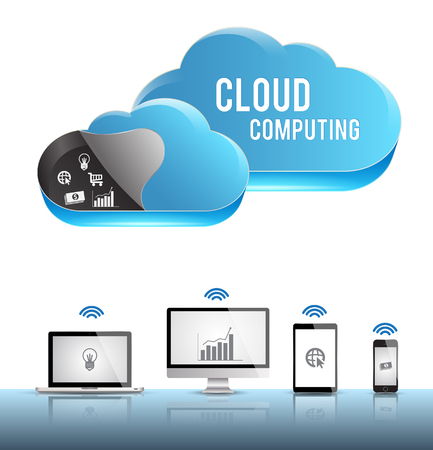 3D cloud computing template Vector
