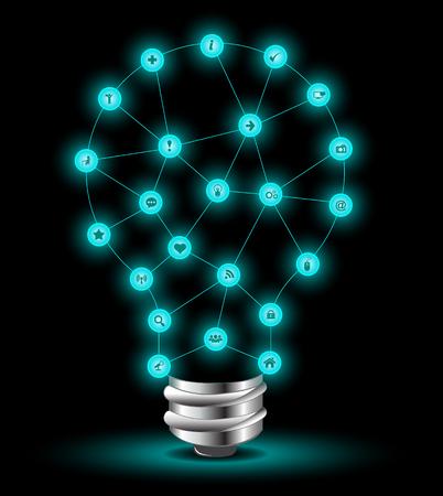 rayo electrico: Bulbo y los iconos de conexión