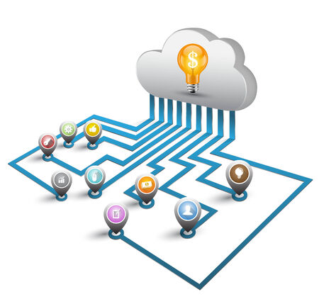 3d Cloud computing and point icons Vector