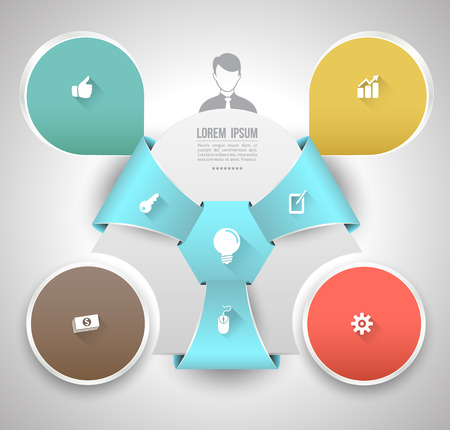 Business concept with icons long shadows Vector
