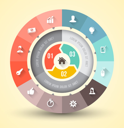 Circle pie with icons long shadows Vector