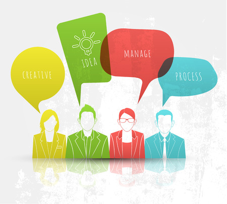 Business people with speech Illustration