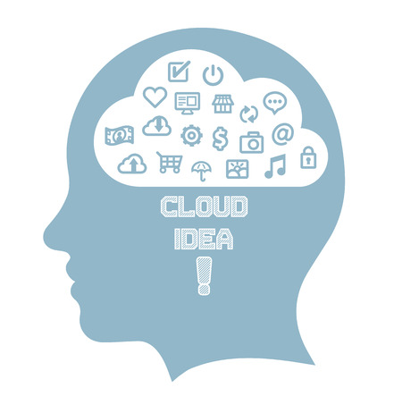 Head cloud brain with icons  Vector
