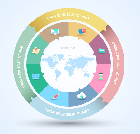 Vector circle business concepts with flat icons   can use for infographic