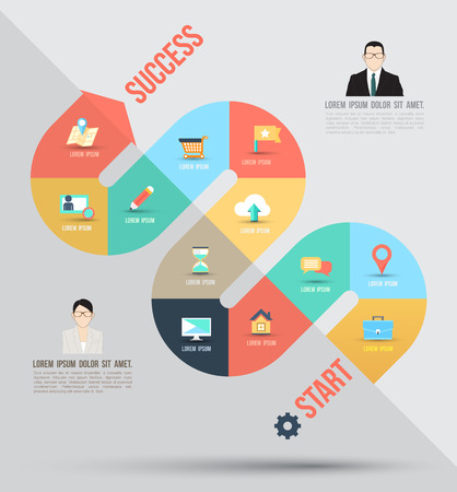 Abstract business info graphics template with icons  Vector illustration