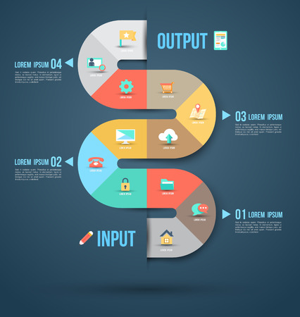 Abstract business info graphics template with icons  Vector illustration  can be used for workflow layout, diagram, number options, step up options, web design  Illustration