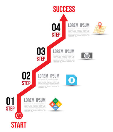 onward: infographic arrow diagram graph options with flat icons  for layout design template Illustration