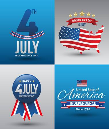 Happy independence day card United States of America, 4 th of July, with fonts Vector