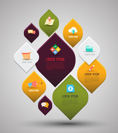message box: Abstract business info graphics with flat icons template  Vector illustration  can be used for workflow layout, diagram, business step options