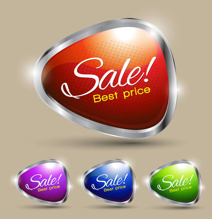Sale text best price set Vector