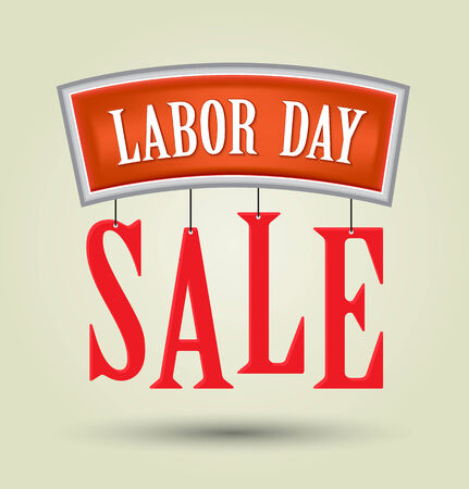 national freedom day: Labor day sale American signs hanging with chain design background, vector illustration