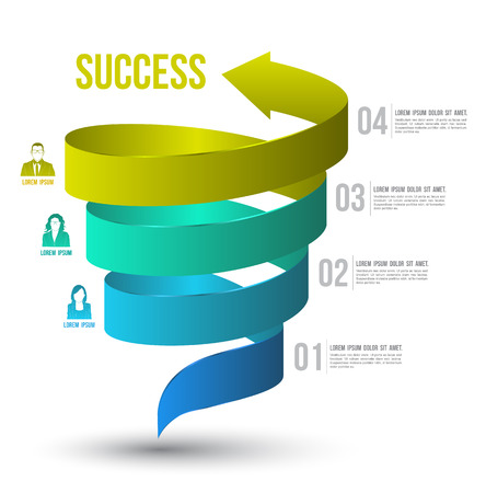 spirals: Arrow twist up to success number options with icons  Vector illustration and can use for business concept, report, data presentation, plan or education diagram  printing and website template  Illustration