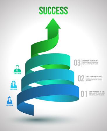 Arrow giro hasta de éxito código opciones con iconos ilustración vectorial y se puede utilizar para el concepto de negocio, informe, presentación de datos, impresión plan o esquema de la educación y la plantilla de página web Ilustración de vector