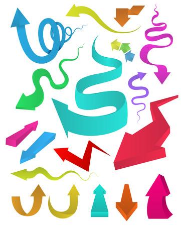 flechas curvas: Flechas curvadas múltiples colores conjunto Ilustración vectorial, se puede utilizar para la impresión de objetos y el sitio web Kid estilo divertido