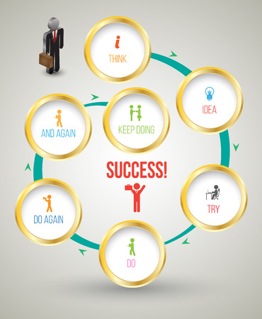 Twirl circle template for success concept with business man 3D icons. Vector illustration.