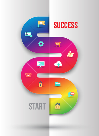 Abstract business info graphics template with icons. Vector illustration. can be used for workflow layout, diagram, number options, step up options, web design. Vector