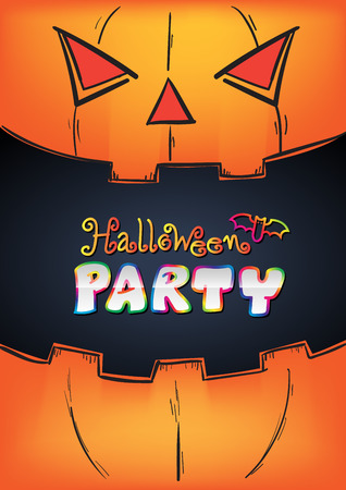 Halloween Party Design template in mouth pumpkin poster. Vector illustration. Can use for advertising poster or card for halloween day. Vector