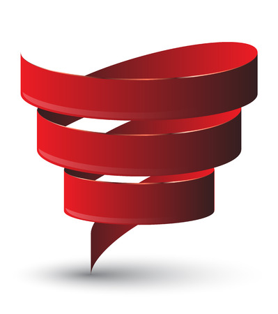 Red ribbon twist. Vetor illustration. Vector