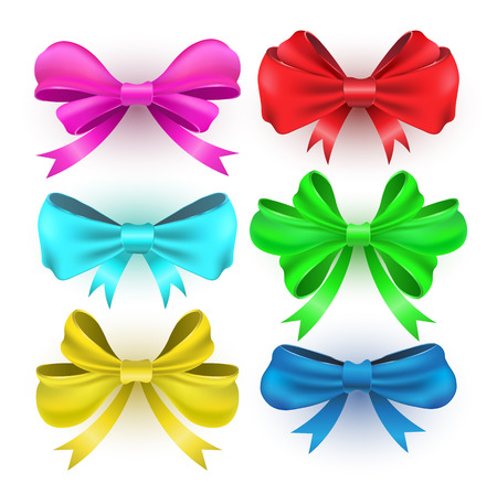ribbons and bows: Set gift bows with ribbons. Vector illustration.