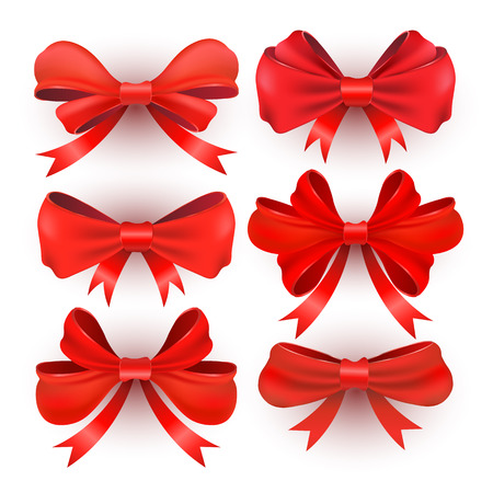 Red gift bows with ribbons. Vector illustration. Set isolated on white. Vector