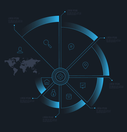 Vector circle step business concepts with line icons  can use for infographicloop business report or plan  modern template  education template  business brochure  system diagram Vector