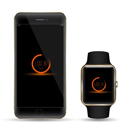 黒い金のスマート フォンやスマート watchr リアルなオブジェクト。モックアップ スマート オブジェクト
