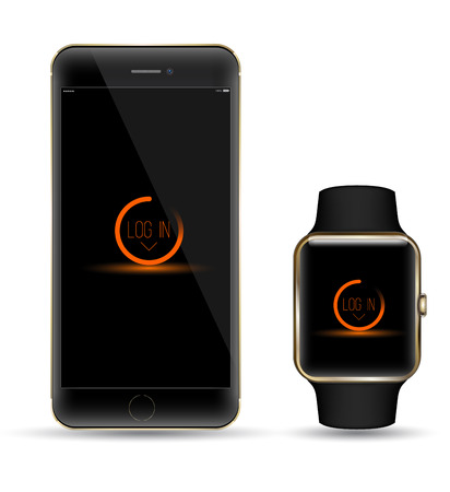 wristbands: Black gold smartphone and smart watchr realistic object. Mockups smart object Illustration