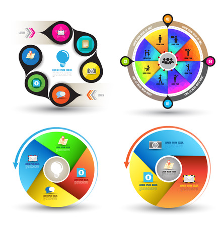 Modern infographics in circle set Vector