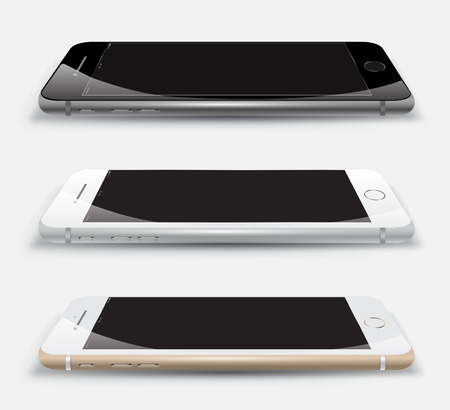 phone: Realistic smartphone set perspective. Vector Illustration.
