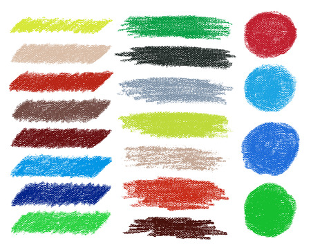 murals: Set of colored doodle sketch banners set. Oil pastels. Vector illustration.