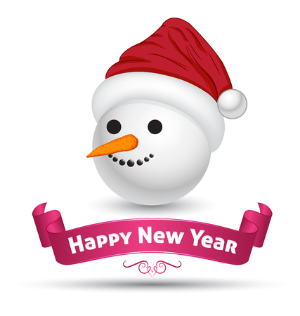 happy new year banner: Snowman head with banner ribbon happy new year Illustration