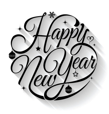 happy holidays text: Happy new year card. Vector illustration. Can use for printing and web.