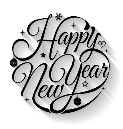 feriado: Tarjeta de la Feliz año. Ilustración del vector. Puede utilizar para la impresión y web.
