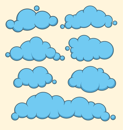 speech balloon: Clouds blue vector set. Vector illustration. Can use for background, balloon text, speech or banner Illustration