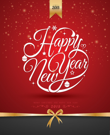 tag: Happy new year card. Vector illustration. Can use for printing and web.