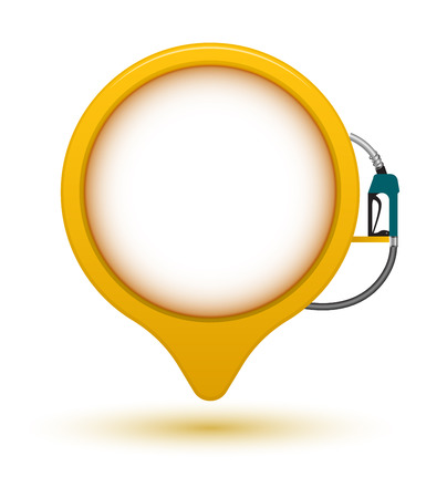 Banner circle point with fuel dispenser. Vector illustration. Can use for printing and web element. Çizim